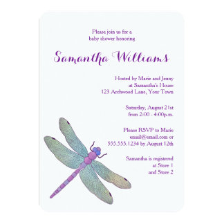 Elegant  Watercolor Dragonfly Baby Shower 11 Cm X 16 Cm Invitation Card