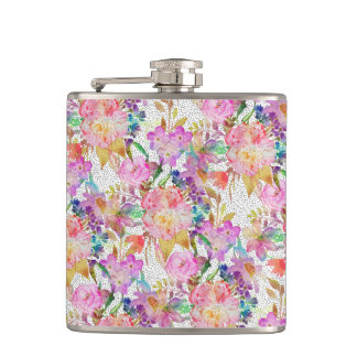 Elegant watercolor floral and dotted brush strokes hip flask