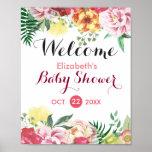 Elegant Watercolor Floral Baby Shower Sign Poster