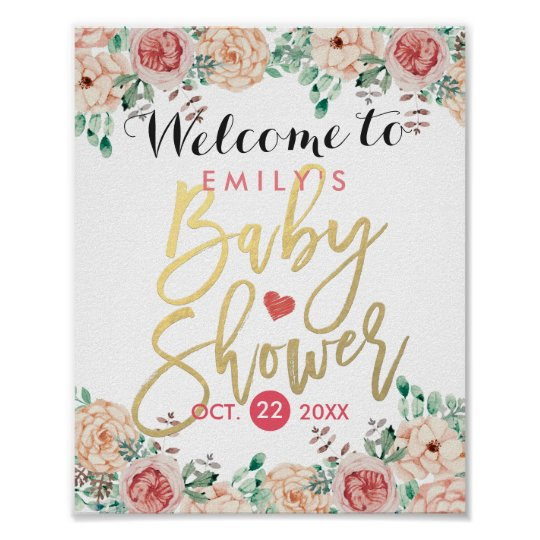 Elegant Watercolor Floral Baby Shower Welcome Sign Poster