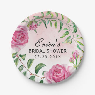 Elegant Watercolor Floral Bridal Shower 7 Inch Paper Plate