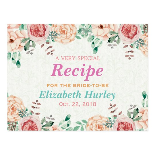 Elegant Watercolor Floral Bridal Shower Recipe Postcard