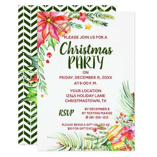Elegant Watercolor Floral Christmas Party Card