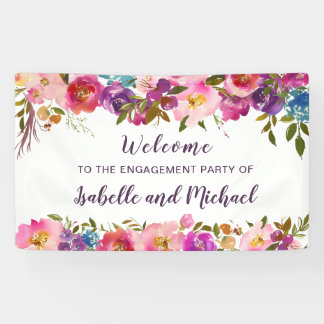 Elegant Watercolor Floral Engagement Party Welcome Banner