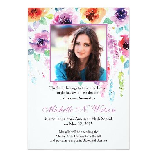 Elegant Watercolor Floral Graduation Announcement