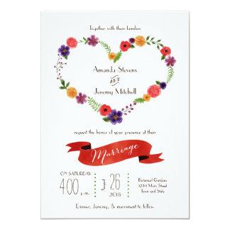 Elegant Watercolor Floral Heart Wreath Wedding 13 Cm X 18 Cm Invitation Card