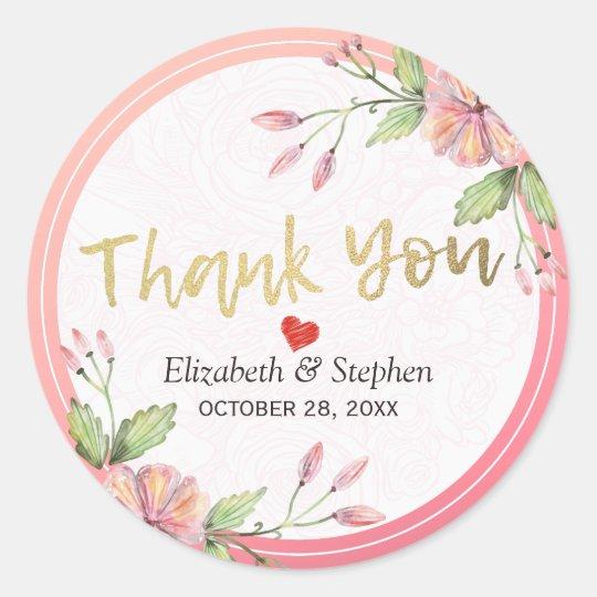 Elegant Watercolor Floral Script Wedding Thank You Classic