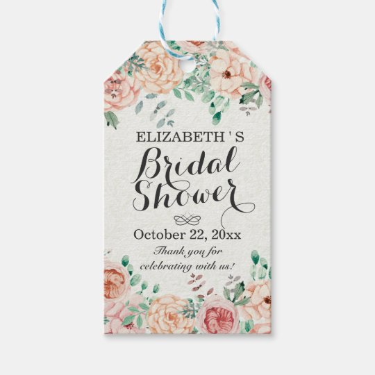 elegant watercolor floral wedding bridal shower gift tags