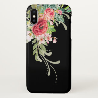 Elegant Watercolor Flowers and Swirls iPhone X Case