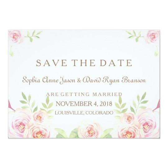 Elegant Watercolor Flowers Wedding SAVE THE DATE Card