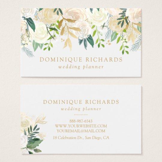 Elegant Watercolor Flowers with Faux Gold Foil Business