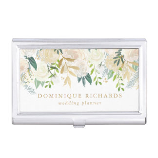 Elegant Watercolor Flowers with Faux Gold Foil Business Card Holder