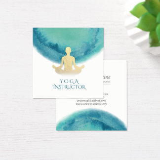 Elegant Watercolor Gold Meditation Yoga Instructor Square Business Card