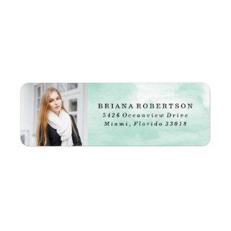Elegant Watercolor Graduation Photo Address Labels
