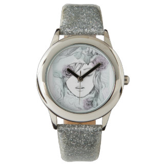 Elegant watercolor hand drawn woman  illustration watch