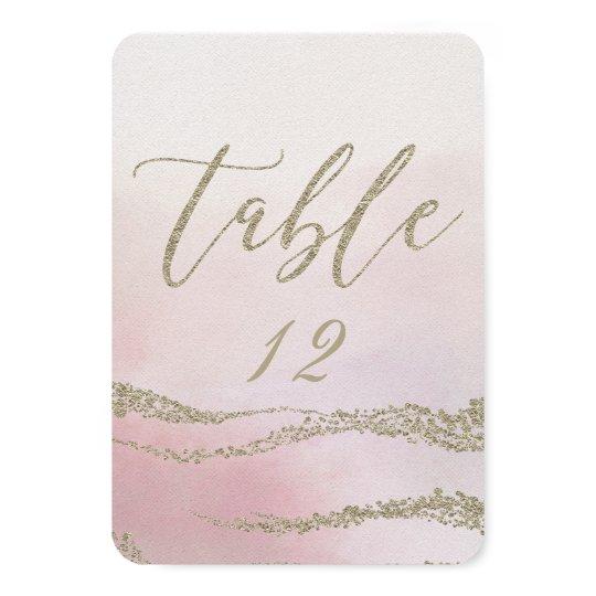 Elegant Watercolor in Blush Wedding Table Number