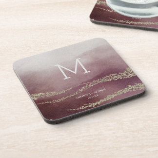 Elegant Watercolor in Cranberry Wedding Monogram Coaster