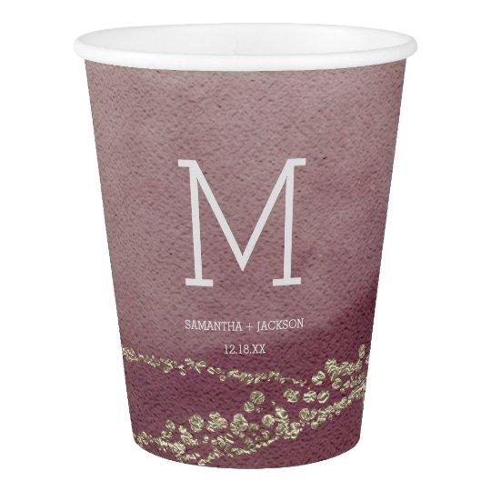 Elegant Watercolor in Cranberry Wedding Monogram Paper Cup