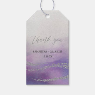 Elegant Watercolor in Orchid Wedding Thank You Gift Tags