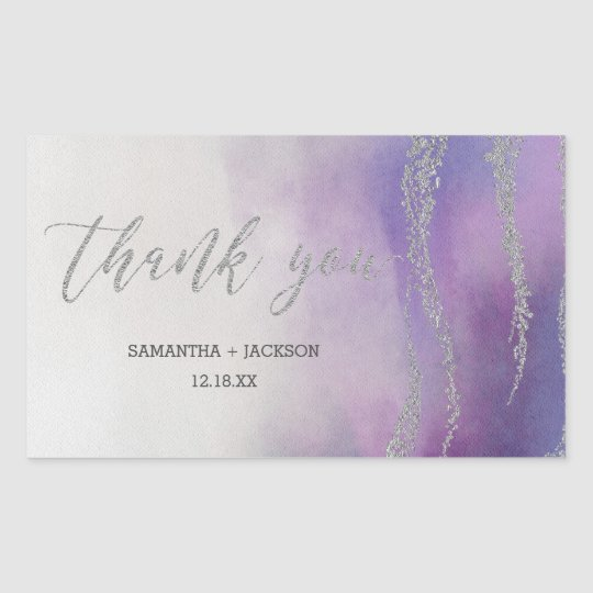 Elegant Watercolor in Orchid Wedding Thank You Rectangular