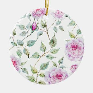 Elegant Watercolor Leaves and Roses | Ornament