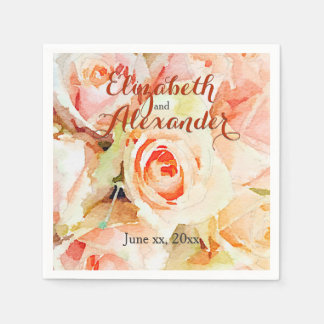 Elegant Watercolor Peach Roses Wedding Disposable Napkins