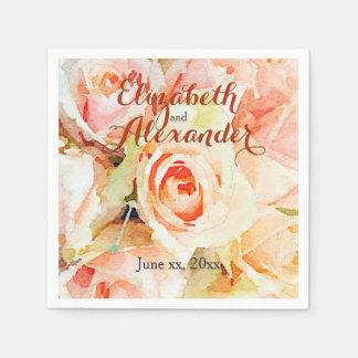 Elegant Watercolor Peach Roses Wedding Disposable Serviette