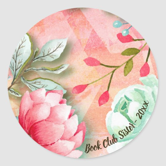 Elegant Watercolor Pink Flowers Garden Book Club Classic