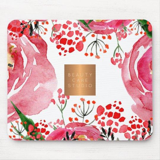 Elegant watercolor pink peonies copper metallic mouse mat