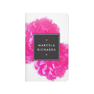 Elegant Watercolor Pink Peonies Personalized Journal
