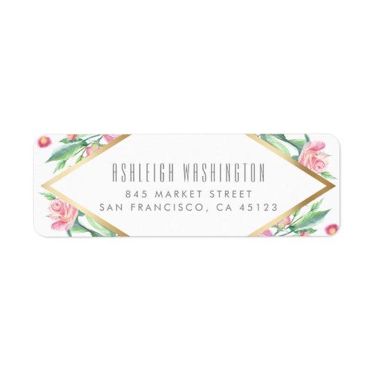 Elegant Watercolor Pink Roses White & Gold Wedding Return Address Label