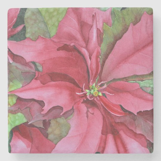 Elegant Watercolor Poinsettia Marble Coaster