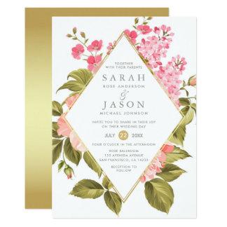 Elegant Watercolor Roses & Blossom Floral Wedding Card