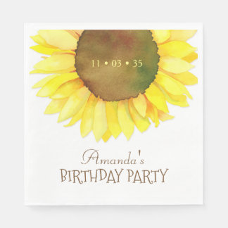 Elegant Watercolor Sunflower Birthday Party Disposable Napkin
