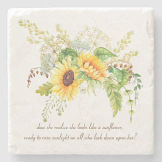 Elegant Watercolor Sunflowers Quote Stone Coasters Stone Coaster