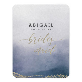 Elegant Watercolor Surf Will You Be My Bridesmaid Card