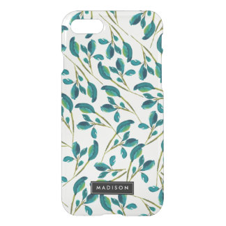 Elegant Watercolor Teal Blue Leaves Personalized iPhone 8/7 Case