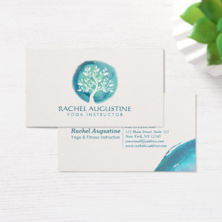 Elegant Watercolor Tree Yoga Meditation Instructor Business Card