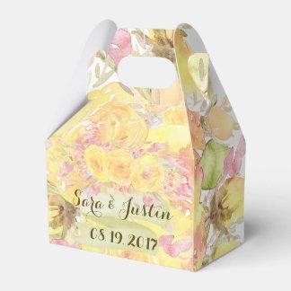 Elegant Watercolor Yellow Roses Wedding Favor Box Favour Boxes