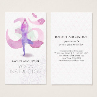 Meditation business cards business card printing zazzle uk elegant watercolor yoga meditation pose om symbol business card reheart Image collections