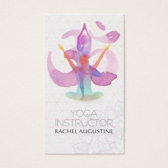 Elegant Watercolor Yoga Meditation Pose Om Symbol Business