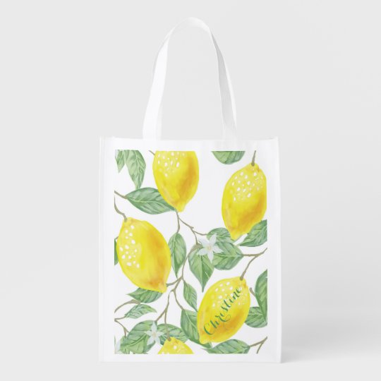 Elegant watercolored lemon pattern on white name reusable