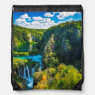 Elegant waterfall scenic, Croatia Drawstring Bag