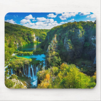 Elegant waterfall scenic, Croatia Mouse Mat