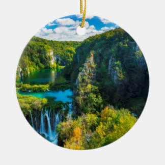 Elegant waterfall scenic, Croatia Round Ceramic Decoration