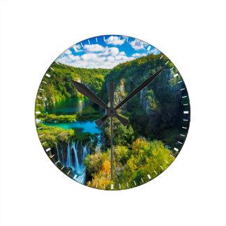 Elegant waterfall scenic, Croatia Round Clock