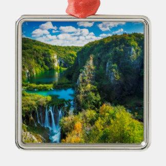 Elegant waterfall scenic, Croatia Silver-Colored Square Decoration
