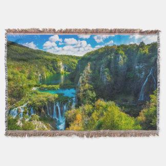 Elegant waterfall scenic, Croatia Throw Blanket