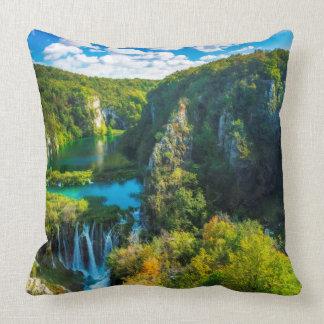 Elegant waterfall scenic, Croatia Throw Pillow