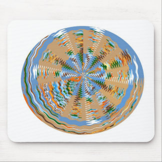 Elegant Waves Round Graphic Artistic Work Mouse Pad